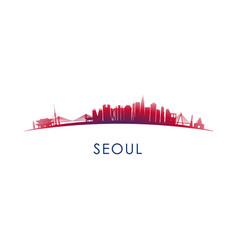 seoul south korea skyline silhouette vector image