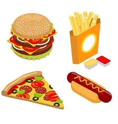 Set Fast food isometrics Big juicy hamburger and vector image vector image