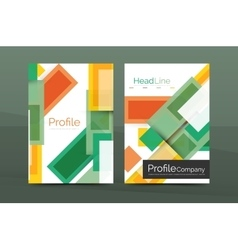 Set of modern geometric business annual report vector