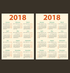 calendar for 2018 starts sunday and monday vector image vector image