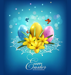 easter background with eggs and crocus vector image vector image