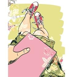 Gumshoes sketch legs girl vector image