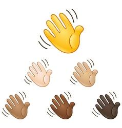 Waving hand sign emoji vector