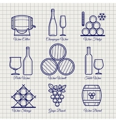 Wine line icons set vector image