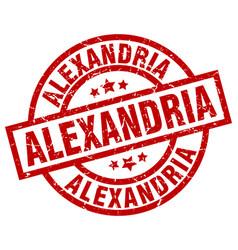alexandria red round grunge stamp vector image vector image