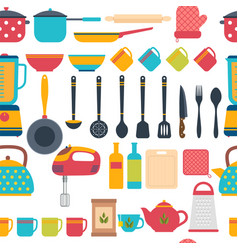 cooking utensils background seamless pattern with vector image