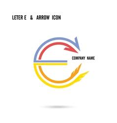 Creative letter E icon logo design vector image