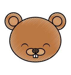 cute scribble beaver cartoon vector image vector image