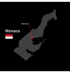 Detailed map of Monaco and capital city Monaco vector image vector image