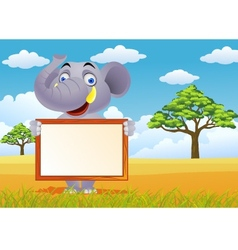 elephant and blank sign vector image vector image