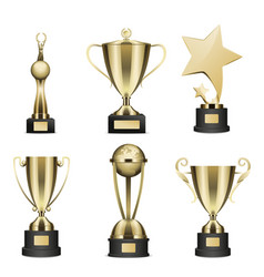golden trophy cups realistic collection vector image