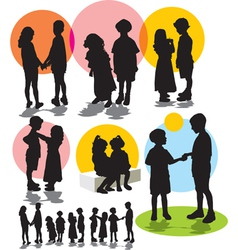 set silhouettes friendship vector image vector image