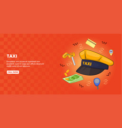 taxi symbols banner horizontal cartoon style vector image vector image