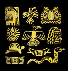 tribal indian golden symbols vector image