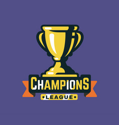 trophy cup and ribbon with text vector image vector image