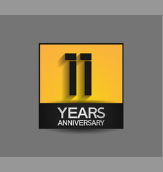 11 years anniversary in square yellow and black vector