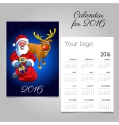 2016 holiday calendar with Santa and fun reindeer vector