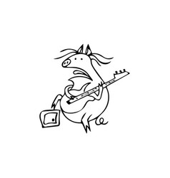 a funny pig with a guitar and combo pig rock star vector image
