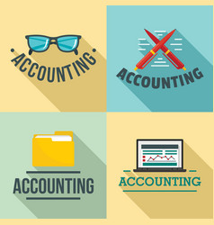 Accounting international day logo set flat style vector