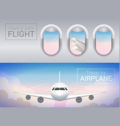 airplane window tourist banner airplane in vector image