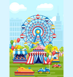 amusement playground in city park vector image
