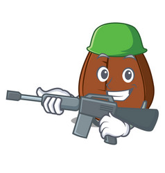 Army coffee bean character cartoon vector