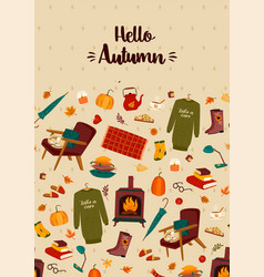 Autumn with homely cute things vector
