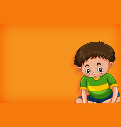 Background template design with happy boy sitting vector