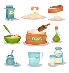 bakery ingridients set kitchen utensils and vector image