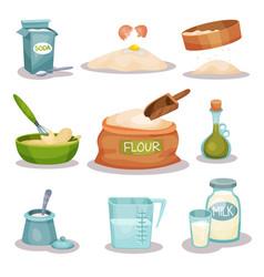Bakery ingridients set kitchen utensils and vector