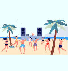 beach party summer teenagers disco flat fun dj vector image