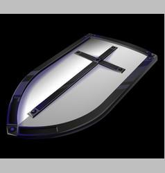 big metal templar shield game icon vector image