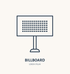 Billboard flat line icon outdoor advertising sign vector