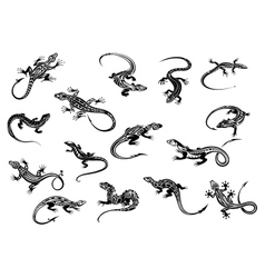 Black lizards reptiles for tattoo design vector