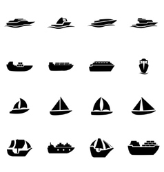 Black ship and boat icon set vector