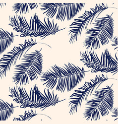 blue palm leaves pattern vector image