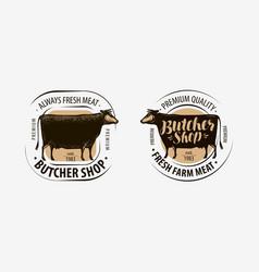 butcher shop butcher logo cow beef label vector image