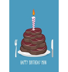 Cake cuts of meat Happy birthday man Delicious vector image