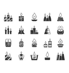 Candle black silhouette icons set vector