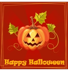 Card Happy Halloween with orange pumpkin vector image