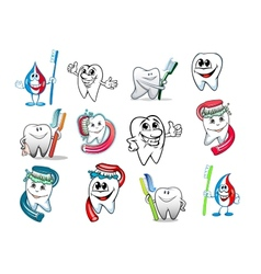 Cartoon tooth hygiene set vector image