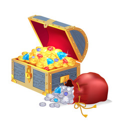 Chest full of treasures and bag of silver coins vector
