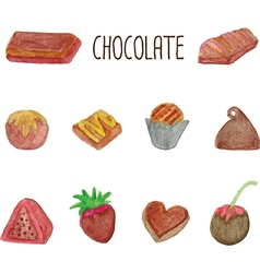 Chocolate icons set vector image