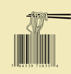 Chopsticks spaghetti barcode design idea concept vector