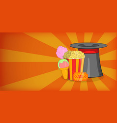 Circus horizontal banner magician cartoon style vector