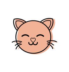 color sleeping cat head cute animal vector image