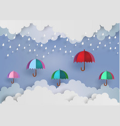 colorful umbrella in the air with rainning vector image