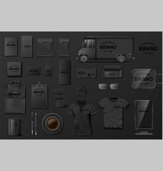 corporate branding identity template black vector image