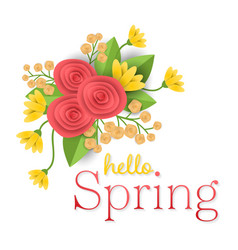 Craft paper flowers background with hello spring vector