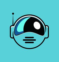 Cute astronaut helmet logo design vector